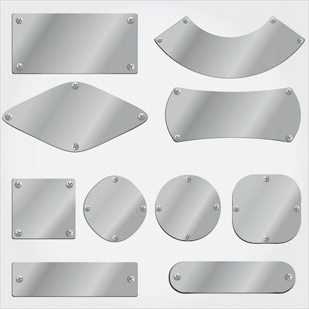 vector metal plates set, grouped objects, fully editable Stock Photo - Budget Royalty-Free & Subscription, Code: 400-04240839