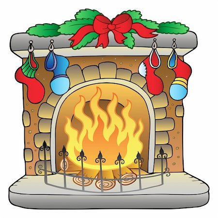 Christmas cartoon fireplace - vector illustration. Stock Photo - Budget Royalty-Free & Subscription, Code: 400-04240955