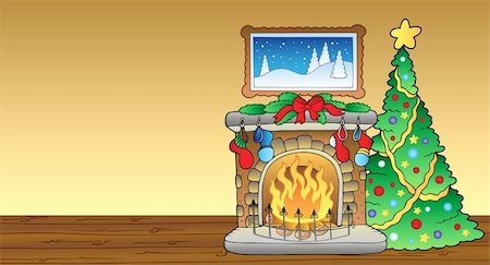 Christmas card with fireplace 1 - vector illustration. Stock Photo - Budget Royalty-Free & Subscription, Code: 400-04240952