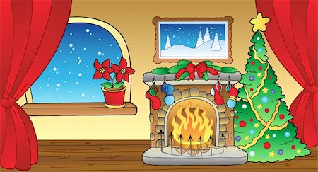 Christmas card with fireplace 2 - vector illustration. Stock Photo - Budget Royalty-Free & Subscription, Code: 400-04240953