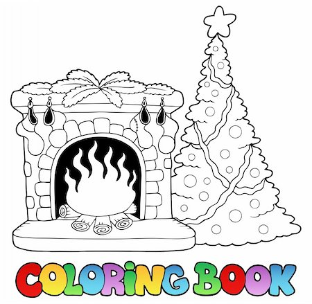 Coloring book with fireplace - vector illustration. Stock Photo - Budget Royalty-Free & Subscription, Code: 400-04240968