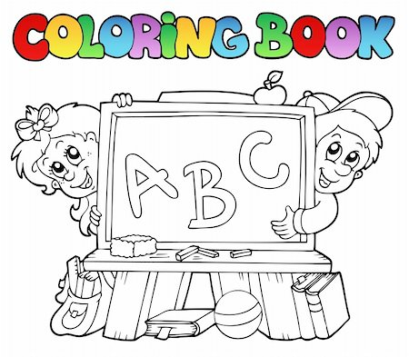 Coloring book with school images 2 - vector illustration. Stock Photo - Budget Royalty-Free & Subscription, Code: 400-04240972