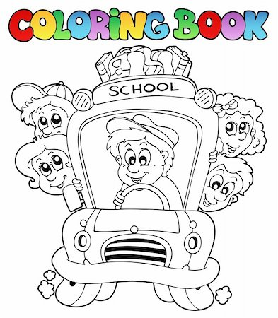 Coloring book with school images 3 - vector illustration. Stock Photo - Budget Royalty-Free & Subscription, Code: 400-04240973