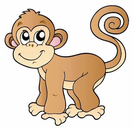 Cute small monkey - vector illustration. Stock Photo - Budget Royalty-Free & Subscription, Code: 400-04240981