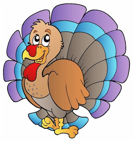Happy cartoon turkey - vector illustration. Stock Photo - Budget Royalty-Free & Subscription, Code: 400-04240998