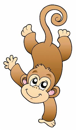 Funny cute monkey - vector illustration. Stock Photo - Budget Royalty-Free & Subscription, Code: 400-04240993