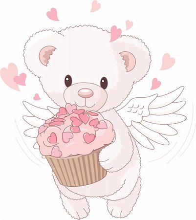 simsearch:400-04598294,k - Cute Teddy bear angel bringing the love cupcake Stock Photo - Budget Royalty-Free & Subscription, Code: 400-04241020