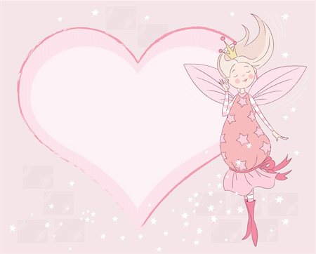 flying heart girl - Invitation of Fairy Tail Princess Stock Photo - Budget Royalty-Free & Subscription, Code: 400-04241973