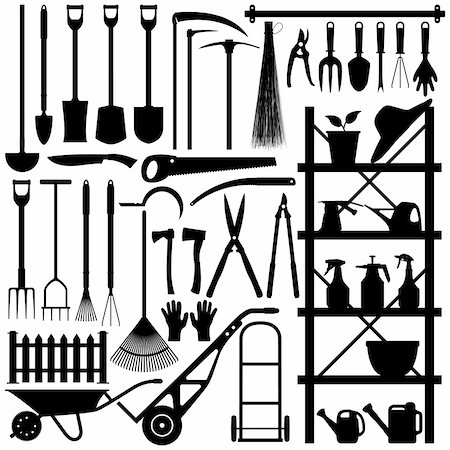 florist vector - A large set of gardening tool and equipment in silhouette. Stock Photo - Budget Royalty-Free & Subscription, Code: 400-04242109