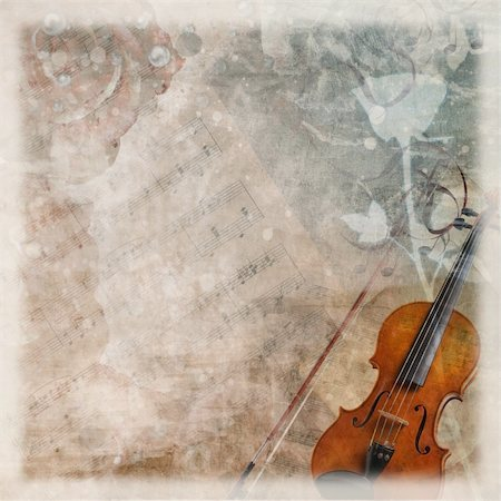 sheet music background - grunge wedding romantic background with violin and roses Stock Photo - Budget Royalty-Free & Subscription, Code: 400-04242158