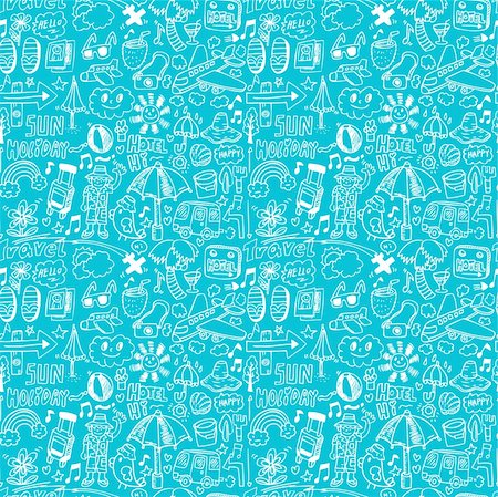 seamless travel pattern Stock Photo - Budget Royalty-Free & Subscription, Code: 400-04242174