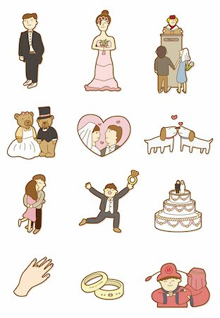 cartoon wedding icon Stock Photo - Budget Royalty-Free & Subscription, Code: 400-04242334