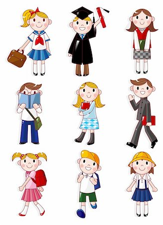students learning cartoon - cartoon student icon Stock Photo - Budget Royalty-Free & Subscription, Code: 400-04242337