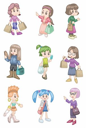 cartoon shopping girl Stock Photo - Budget Royalty-Free & Subscription, Code: 400-04242367