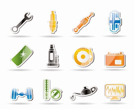 spark vector - Simple Car Parts and Services icons - Vector Icon Set 1 Stock Photo - Budget Royalty-Free & Subscription, Code: 400-04242593