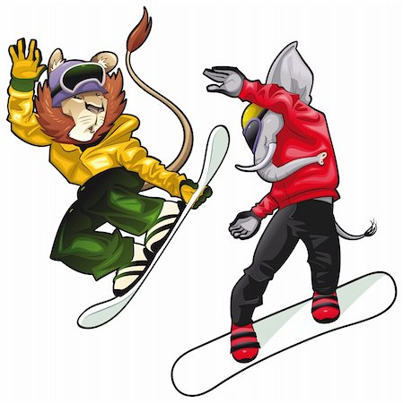 Savannah animals on snowboard. Vector isolated characters. Stock Photo - Budget Royalty-Free & Subscription, Code: 400-04242671