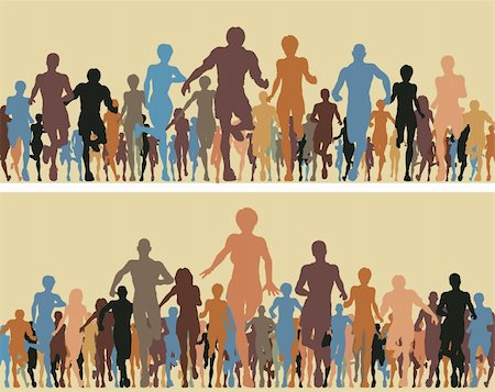Colorful editable vector silhouettes of many people running Stock Photo - Budget Royalty-Free & Subscription, Code: 400-04243121
