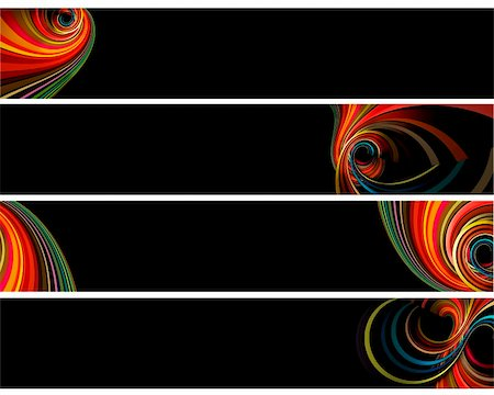 Banners with colorful retro circles isolated on black Stock Photo - Budget Royalty-Free & Subscription, Code: 400-04255910