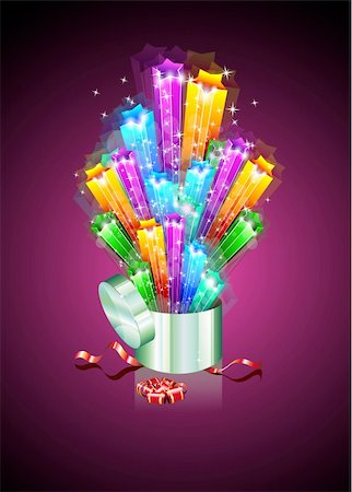 Birthday or Christmas Gift Card with an Explosion of Stars Stock Photo - Budget Royalty-Free & Subscription, Code: 400-04255912