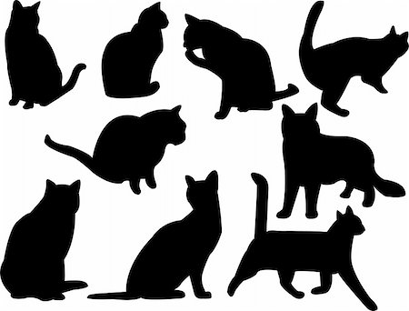 cats silhouette collection vector Stock Photo - Budget Royalty-Free & Subscription, Code: 400-04256174