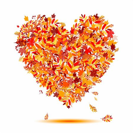 I love autumn! Heart shape from falling leaves Stock Photo - Budget Royalty-Free & Subscription, Code: 400-04256362