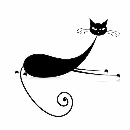 Graceful black cat silhouette for your design Stock Photo - Budget Royalty-Free & Subscription, Code: 400-04256383