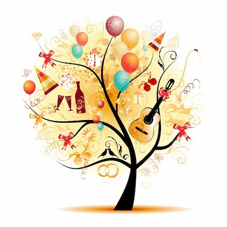 fireworks vector art - Happy celebration, funny tree with holiday symbols Stock Photo - Budget Royalty-Free & Subscription, Code: 400-04256398