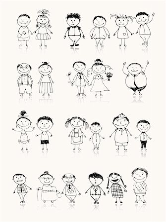 Happy big family smiling together, drawing sketch Stock Photo - Budget Royalty-Free & Subscription, Code: 400-04256404