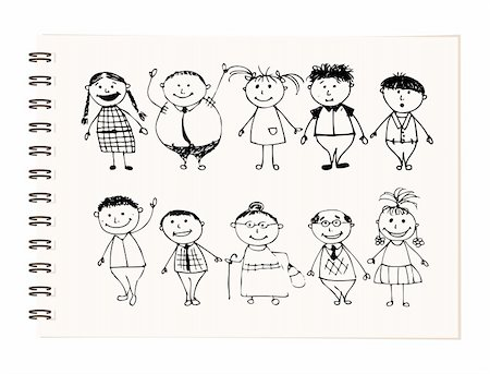 Happy big family smiling together, drawing sketch Stock Photo - Budget Royalty-Free & Subscription, Code: 400-04256405