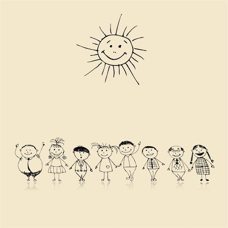 Happy big family smiling together, drawing sketch Stock Photo - Budget Royalty-Free & Subscription, Code: 400-04256406