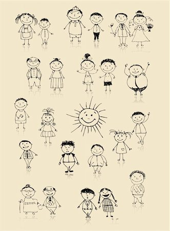 Happy big family smiling together, drawing sketch Stock Photo - Budget Royalty-Free & Subscription, Code: 400-04256407