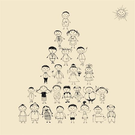 Funny pyramid with happy big family smiling together, drawing sketch Stock Photo - Budget Royalty-Free & Subscription, Code: 400-04256409