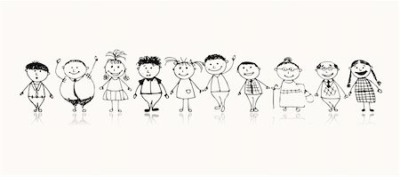 Happy big family smiling together, drawing sketch Stock Photo - Budget Royalty-Free & Subscription, Code: 400-04256403