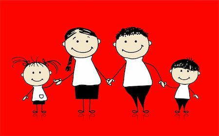 Happy family smiling together, drawing sketch Stock Photo - Budget Royalty-Free & Subscription, Code: 400-04256410