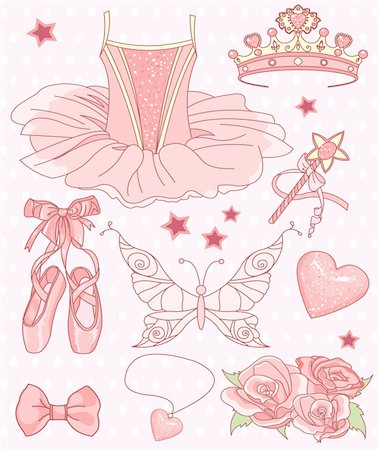Set of Princess ballerina accessories Stock Photo - Budget Royalty-Free & Subscription, Code: 400-04256873