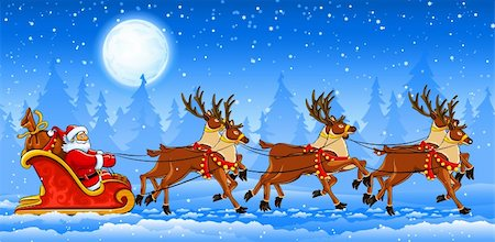 Christmas Santa Claus riding on sleigh with reindeer by snow. Vector illustration Stock Photo - Budget Royalty-Free & Subscription, Code: 400-04257597