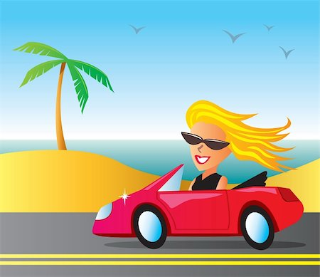 Woman cruising in a convertible at the beach. Stock Photo - Budget Royalty-Free & Subscription, Code: 400-04257885