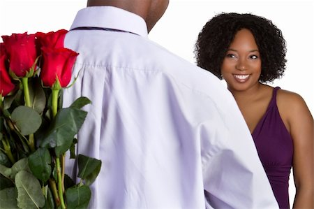 dozen roses - Man giving woman roses Stock Photo - Budget Royalty-Free & Subscription, Code: 400-04257994