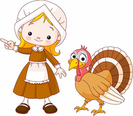 Illustration of Thanksgiving Pilgrim girl pointing and turkey Stock Photo - Budget Royalty-Free & Subscription, Code: 400-04258207
