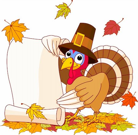 Illustration of Thanksgiving turkey holding scroll. With falling leaves Stock Photo - Budget Royalty-Free & Subscription, Code: 400-04258210