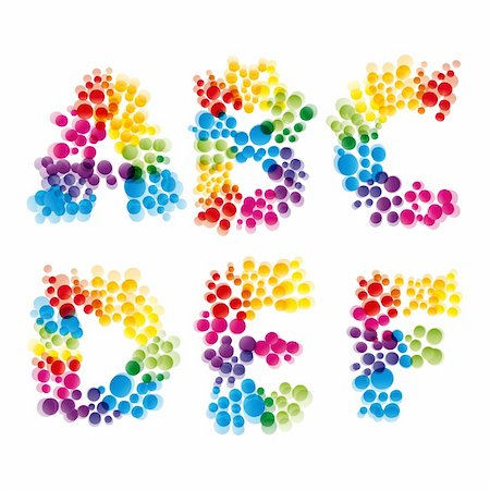 flower clipart paint - vector set of alphabet elements made of bubbles.Illustration for your design. Stock Photo - Budget Royalty-Free & Subscription, Code: 400-04258697