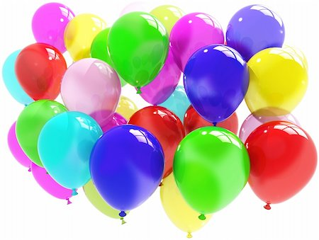 colorful balloons. Party and fun concept isolated on white background Stock Photo - Budget Royalty-Free & Subscription, Code: 400-04259406