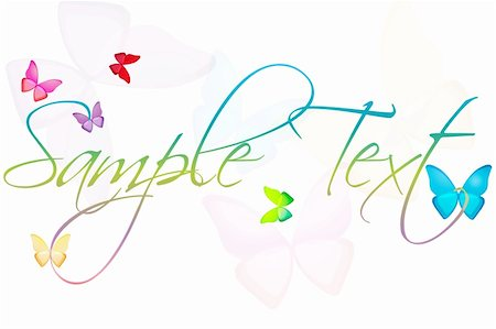 illustration of sample text with butterflies on an isolated background Stock Photo - Budget Royalty-Free & Subscription, Code: 400-04259527