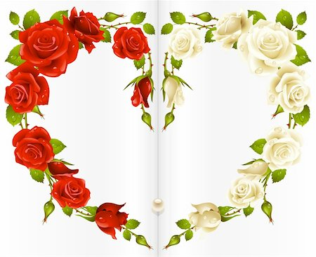 Red and white Rose frame in the shape of heart Stock Photo - Budget Royalty-Free & Subscription, Code: 400-04259761