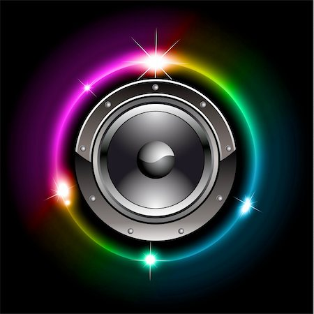Abstract Futuristic Speaker with Glowing Lights Behind Stock Photo - Budget Royalty-Free & Subscription, Code: 400-04264273