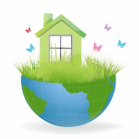 illustration of green house on half earth with colorful butterflies Stock Photo - Budget Royalty-Free & Subscription, Code: 400-04265554