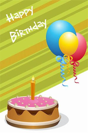 illustration of birthday card with cake & balloons Stock Photo - Budget Royalty-Free & Subscription, Code: 400-04265658