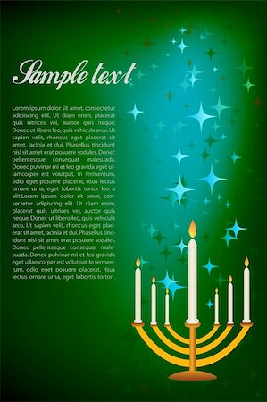 illustration of hanukkah card with candle stand Stock Photo - Budget Royalty-Free & Subscription, Code: 400-04265683
