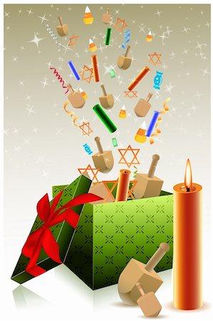 illustration of hanukkah gift box Stock Photo - Budget Royalty-Free & Subscription, Code: 400-04265748