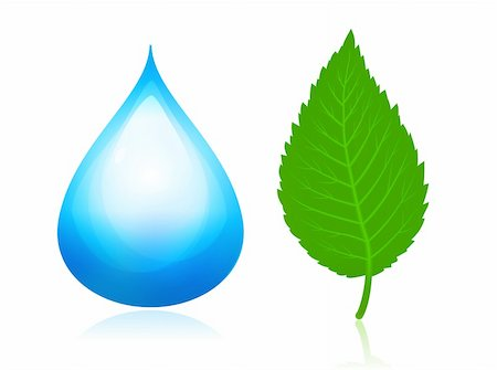 Nature symbols. Blue water drop and green leaf. Stock Photo - Budget Royalty-Free & Subscription, Code: 400-04265925